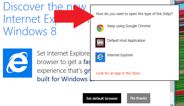 Default Browser Selection Screen